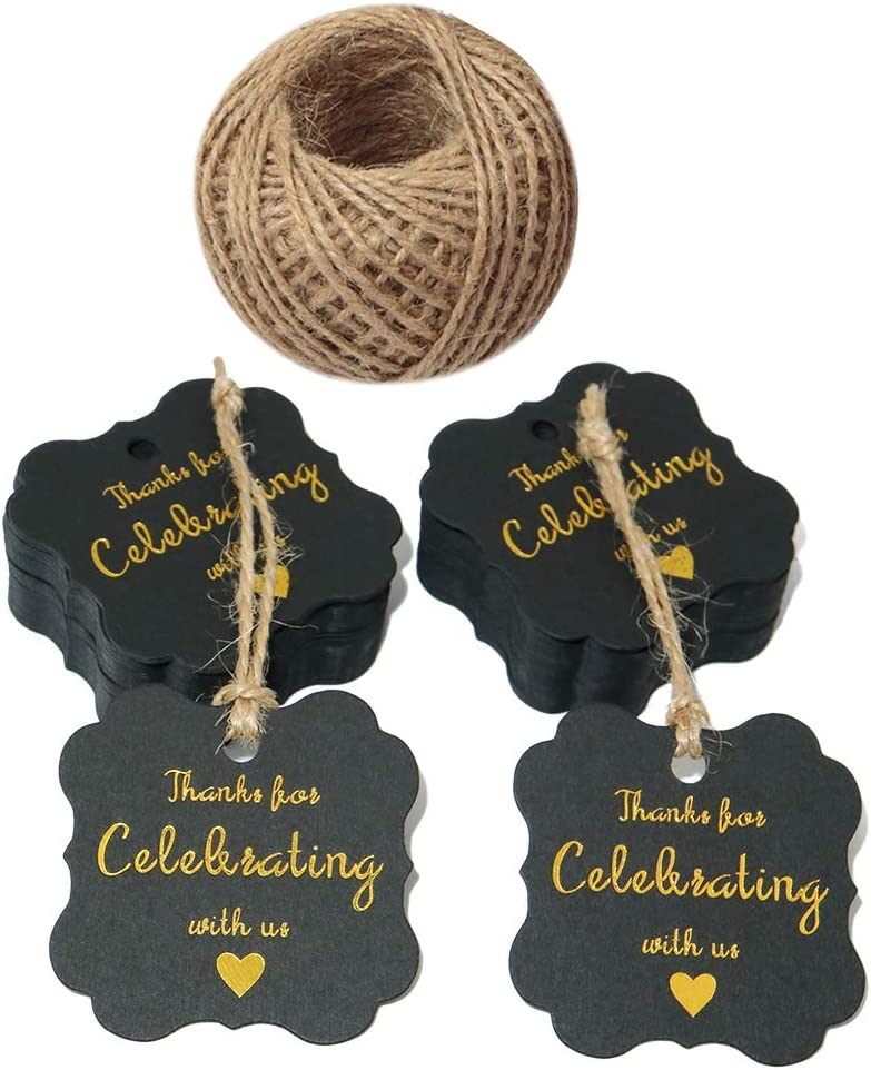 Baby Shower Tags,Thank You for Celebrating with Us Paper Gift Tags with Gold Foil Letters,100 Pcs Kraft Thank You Tags for Wedding Party Favors with 100 Feet Natural Jute Twine