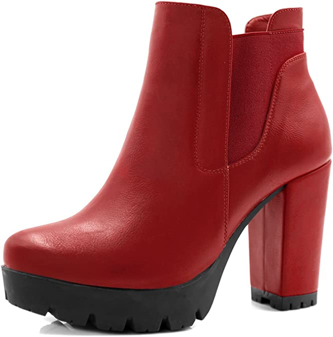Ladies Ankle Boots Womens Chelsea Cleated High Heel Zip Platform Shoes Size