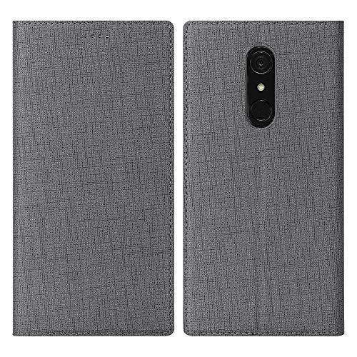 DDJ LG G7 Fit Case Flip Cover TPU&PU Leather Case with Kickstand, Multi-Function Magnetic Suction Strong Closure Wallet Phone Case for LG G7 Fit (Gray)