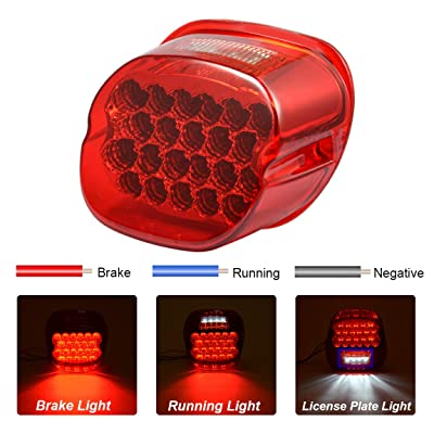 PBYMT LED Tail Light Red Rear Taillight Brake License Plate Light Compatible for Harley Softail Sportster Road King Road Glide Electra Glide 1999-2020: Automotive