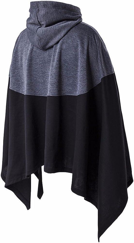Gergeos Mens Irregular Hooded Sweatshirt Patchwork Loose Bat Sleeves Poncho Cape Coat