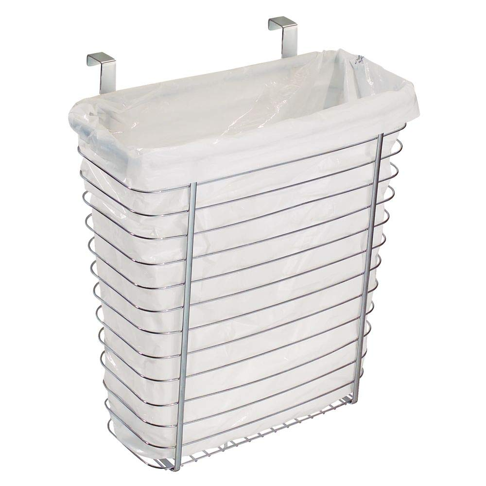 """InterDesign Axis Steel Over The Cabinet Storage Organizer, Waste Basket, for Aluminum Foil, Sandwich, Cleaning, Garbage Bags, Bath Supplies, 7.1"""" x 12.2"""" x 14.2"""", Chrome"""