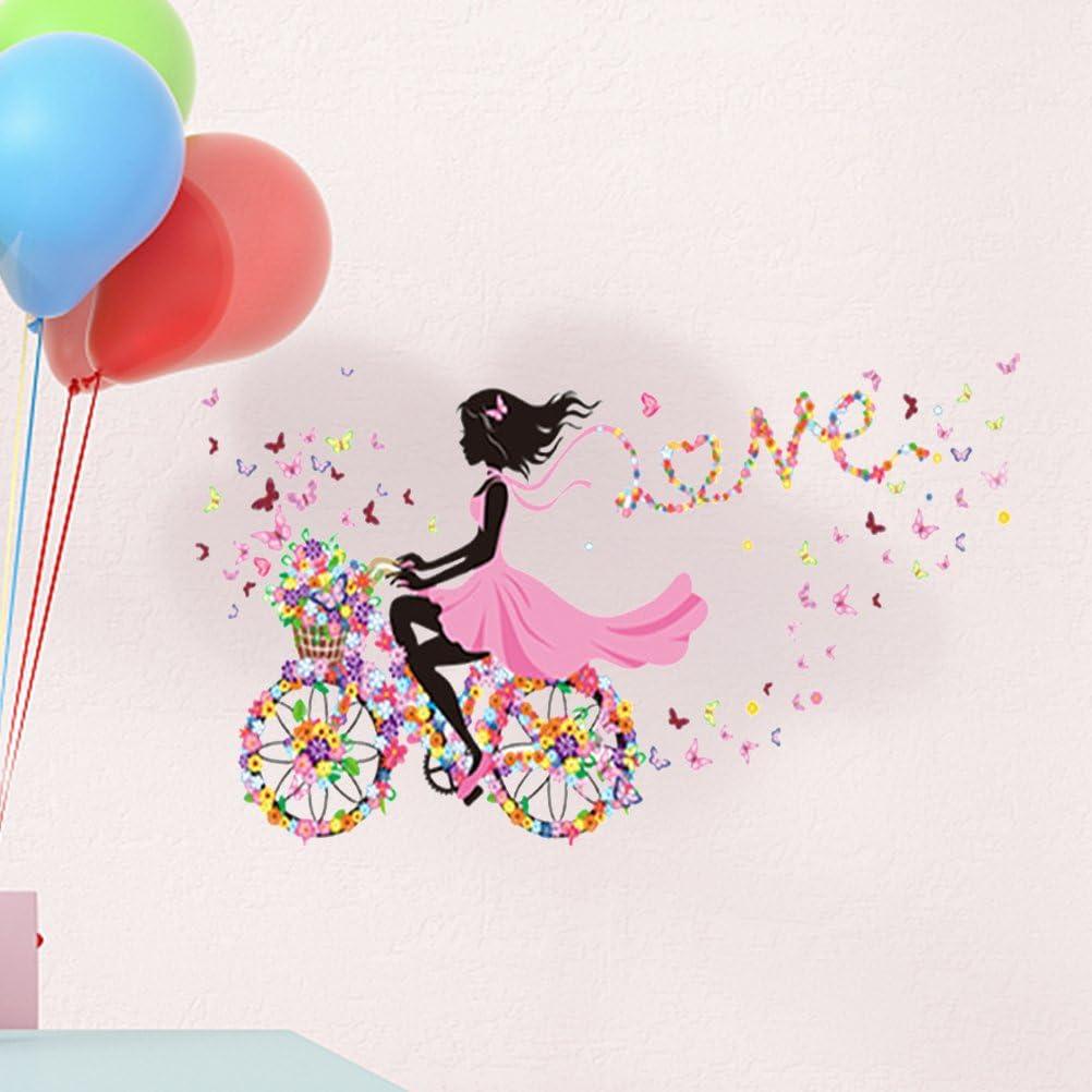 WINOMO M/ädchen auf dem Fahrrad Wandtattoo abnehmbare Fee Blumen Schmetterling Wandsticker f/ür M/ädchen Kinderiimmer Dekor 90x60cm