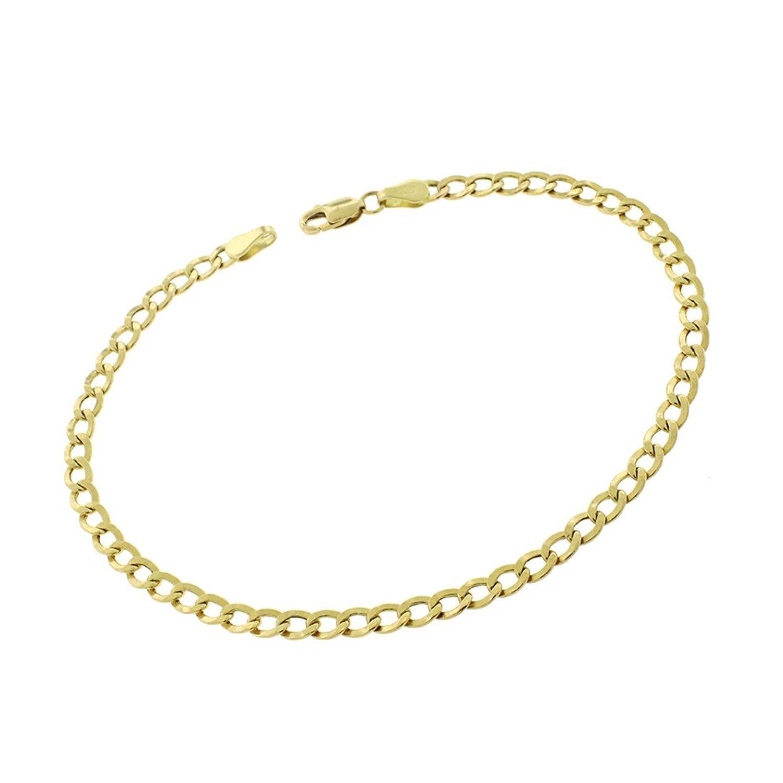 14K Yellow Gold 3.5mm Hollow Cuban Curb Link - Light-Weight - Bracelet Chain 8''