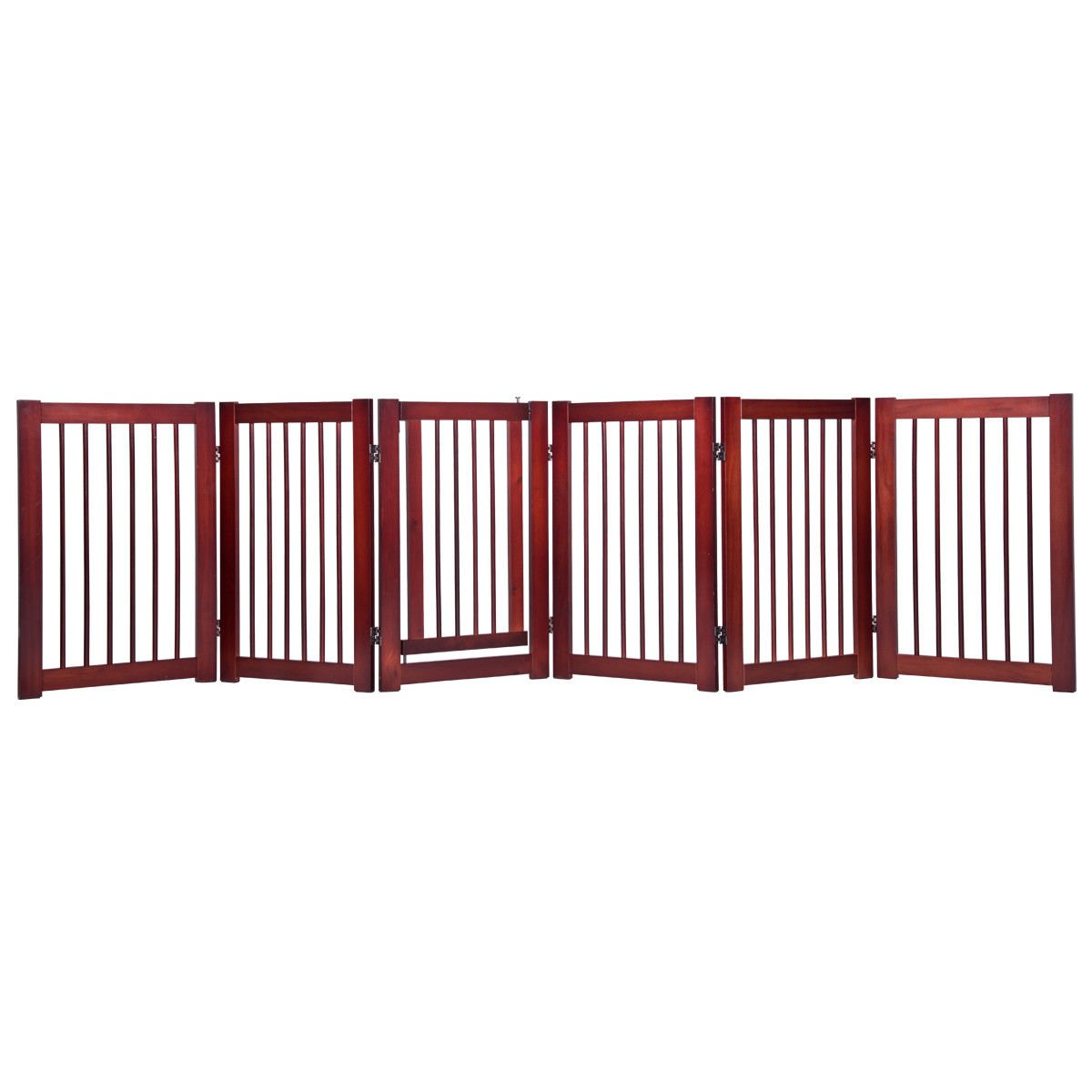 Giantex 30'' Configurable Folding Free Standing Panel Wood Pet Dog Safety Fence w/Gate (121'' W)