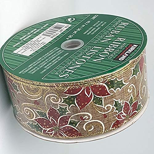 Kirkland Wire Edged Gold Trimmed Poinsettia Ribbon 50 Yards 2.5 inches Perfect for Christmas Bows Party Gifts Floral Arrangements Tree - Ribbon Poinsettia