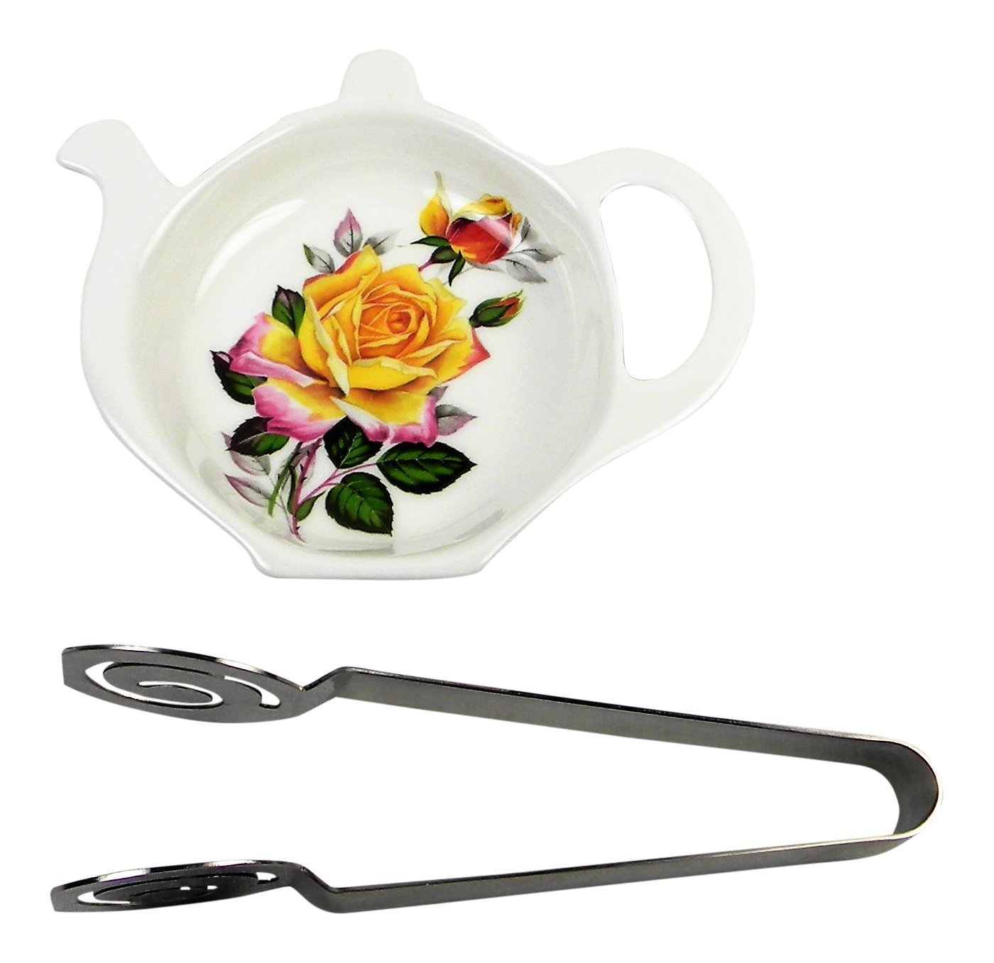 Adderley Bone China Tea Bag Coaster Caddy and Stainless Steel Tea Bag Squeezer England - Yellow Rose