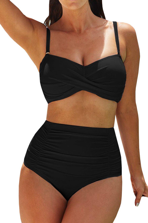 Meilidress Women's Sexy Plus Size Strapless Bikini Push up Pleated High Waisted Two Piece Twist Swimsuit