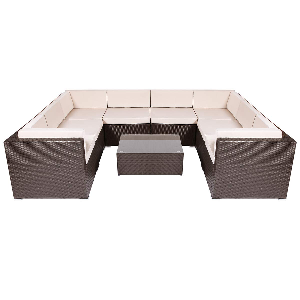 U-MAX 5-14 Pieces Patio PE Rattan Wicker Sofa Sectional Furniture Set 9-Pieces, Brown