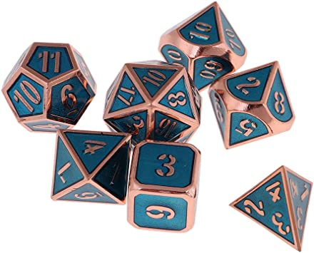 non-brand 7X Dados de Múltiples Caras de Número Hecho de Aleación de Zinc para Juegos de Dado de Mesa - Azul Real de Cobre: Amazon.es: Juguetes y juegos
