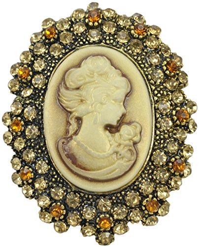 Gyn&Joy Brown Victorian Lady Cameo Brooch Pin with Crystal Rhinestone Charm Women Fashion Jewelry BZ027