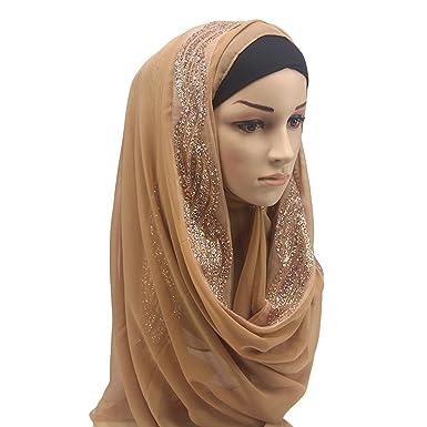 ebc4adf32d6 Dinglong grosses soldes Musulman Femmes Hijab Diamants Écharpe À Capuchon  Wraps Instantanés Bandanas Cap Sous-Vêtements Châle Foulard Abaya Brim  Couvre-chef ...