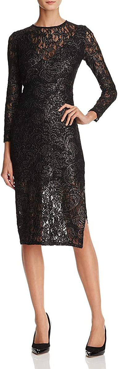 Laundry by Shelli Segal Women's Lace Midi Cocktail Dress, Black, 0