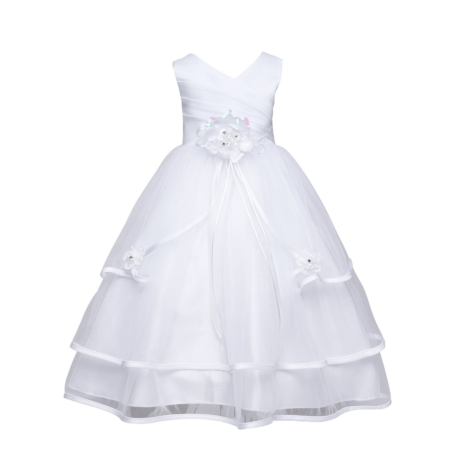 08baeac64 The elegant dress is made out of quality satin and soft tulle. The dress is  decorated with delicate flower and ribbon over the waist and two beaded  flowers ...