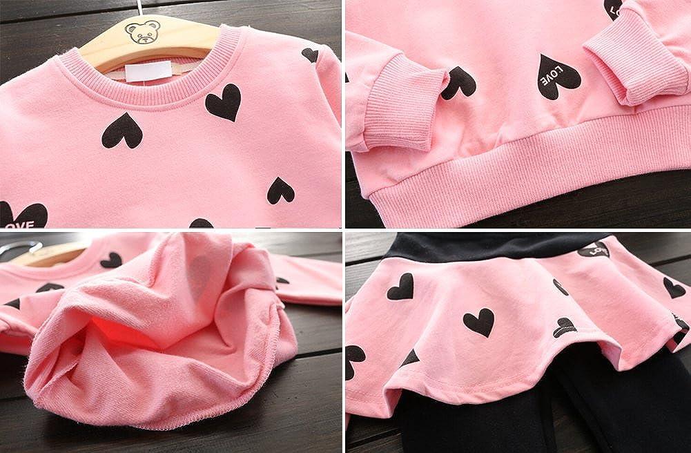 LINGGO Girls Cute Little Loves Pattern T-shirt Culottes Skirt Set