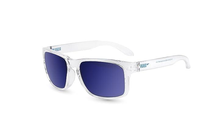 Pegaso Rocky Gafas de Sol, Blanco/Espejo Azul Revo, 55 Unisex