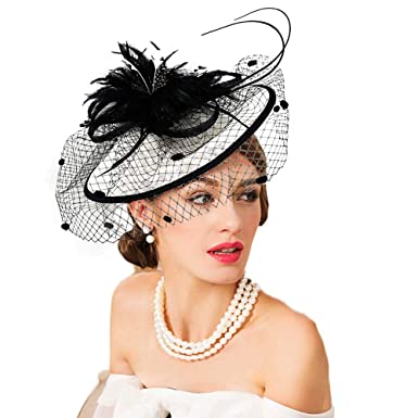 0a8a5d02aabed FADVES Sinamay Fascinator Occasion Wedding Hats Party Derby Cocktail Hat  for Women at Amazon Women s Clothing store