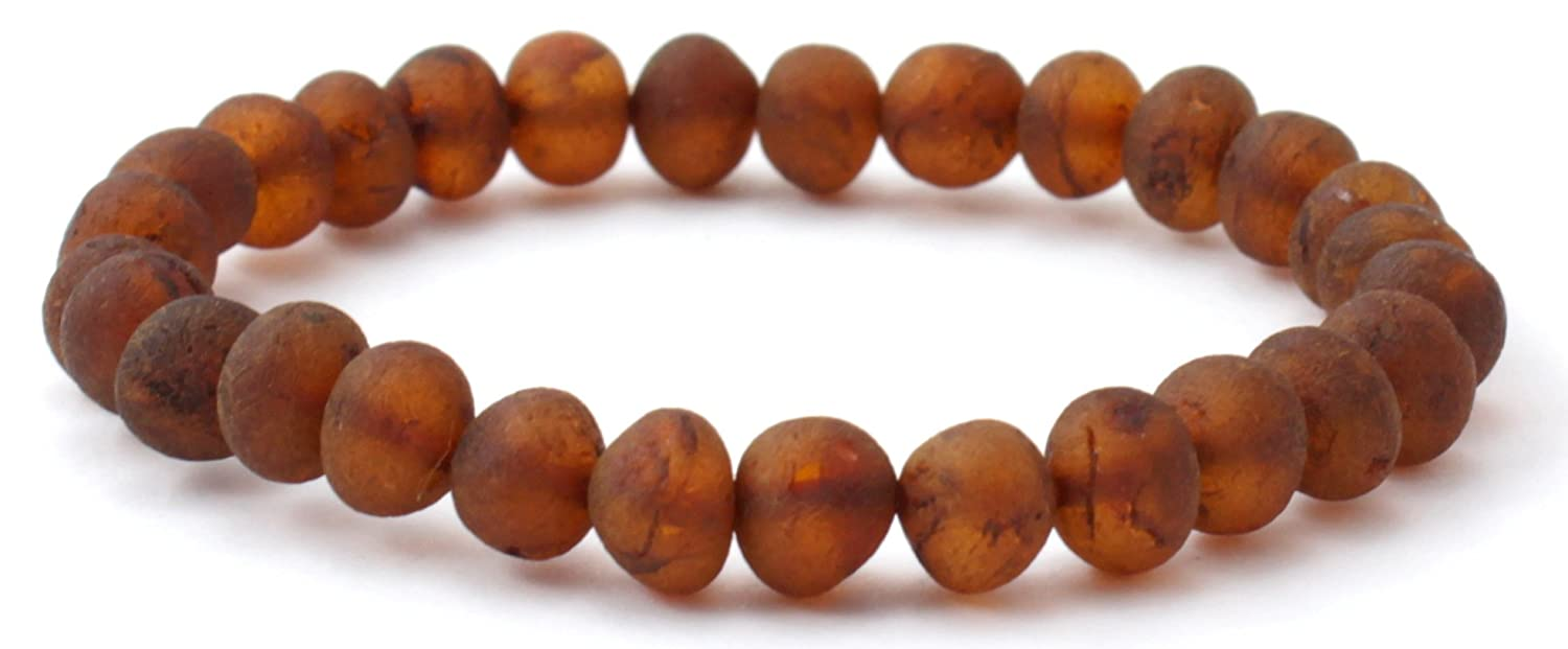 Raw Baltic Amber Stretch Bracelet - Suitable for Most Adults (Men and Women) - Size 8.25 inches (21 cm) - Made on Elastic Band - Unpolished Amber Beads - BoutiqueAmber (8 inches, Lemon)