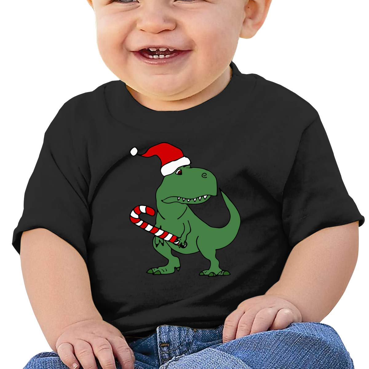 Dinosaur in Santa Hat Christmas Newborn Baby Newborn Short Sleeve T-Shirt 6-24 Month Soft Tops