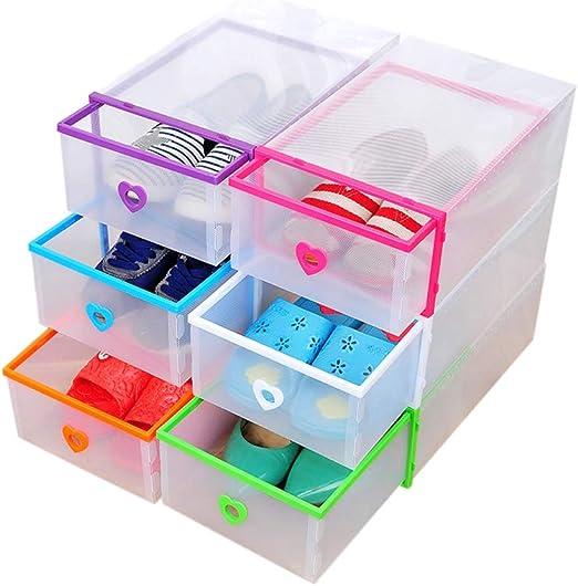 ZiXingA Cajas para Zapatos de Plástico Transparente Apilables, Almacenaje Zapatos, Cajas de Almacenaje Plastico para Guardar Ropa, Cinturones, Calcetines, Juguetes (Juego de 6) Multicolor OneSize: Amazon.es: Hogar