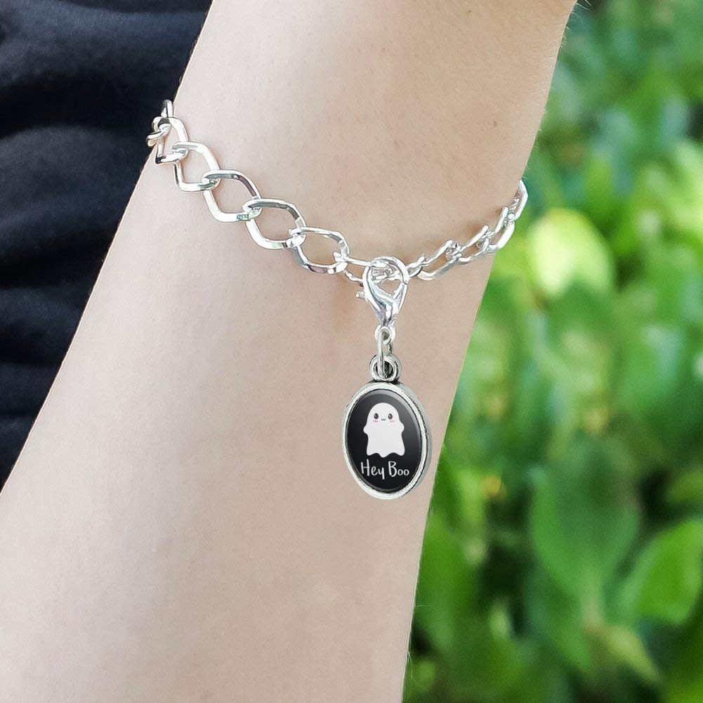 GRAPHICS /& MORE Hey Boo Cute Kawaii Ghost Antiqued Bracelet Pendant Zipper Pull Oval Charm with Lobster Clasp