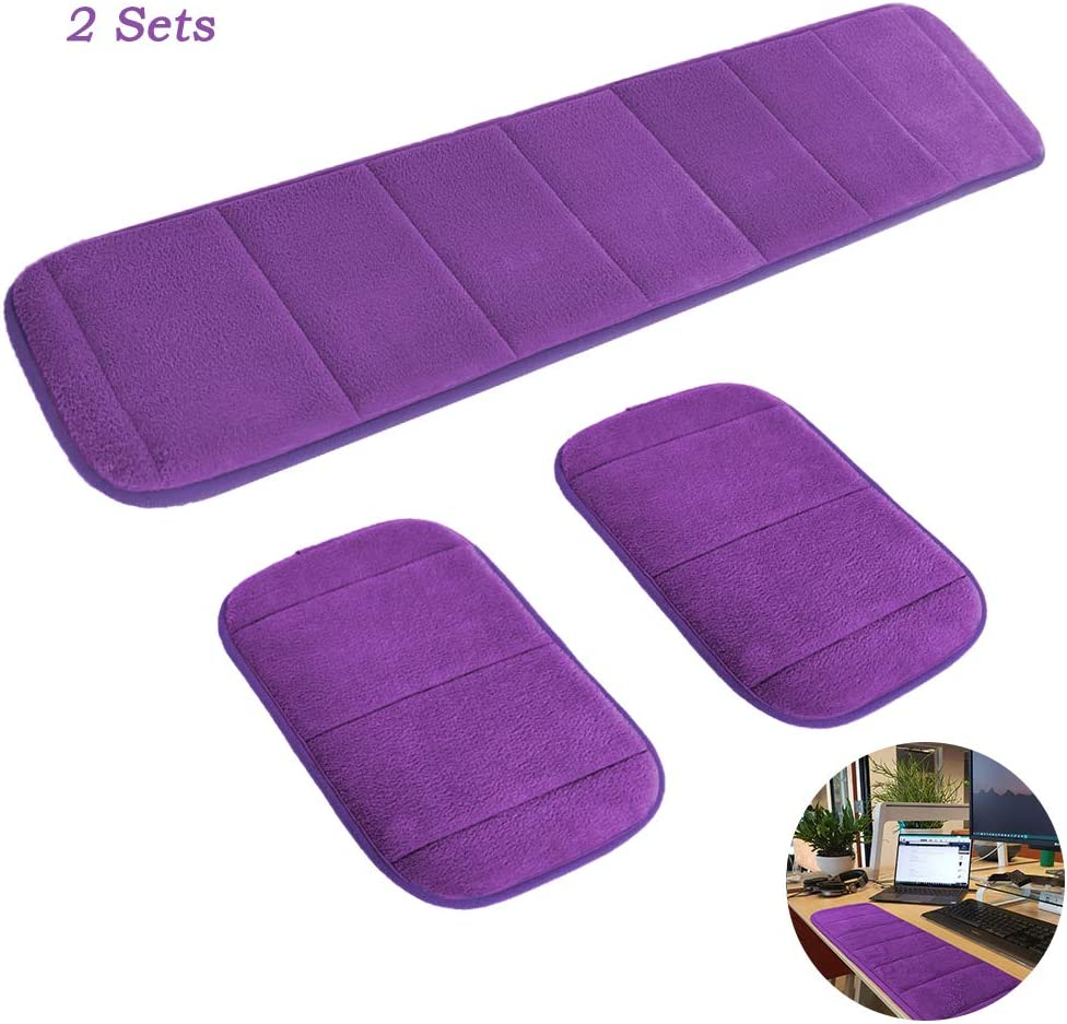 2 Sets Ergonomic Computer Elbow Wrist Pad, AUHOKY Long & Short Size Combination Keyboard Wrist Rest Elbow Support Mat for Office Desktop Working Gaming - Memory Foam Relieve Elbow Pain (Purple)