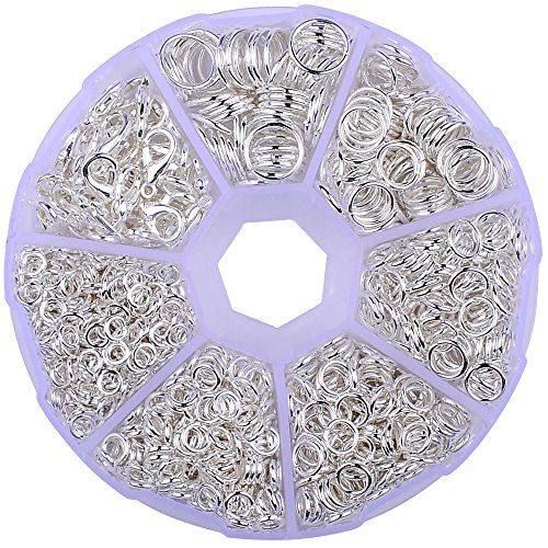 Supla Open Jump Rings 4mm 5mm 6mm 7mm 8mm 10mm 21 Gauge and 19 Gauge,Lobster Claw Clasp 12 x 7mm For jewlery making findings(SILVER) (5mm Open Ring)