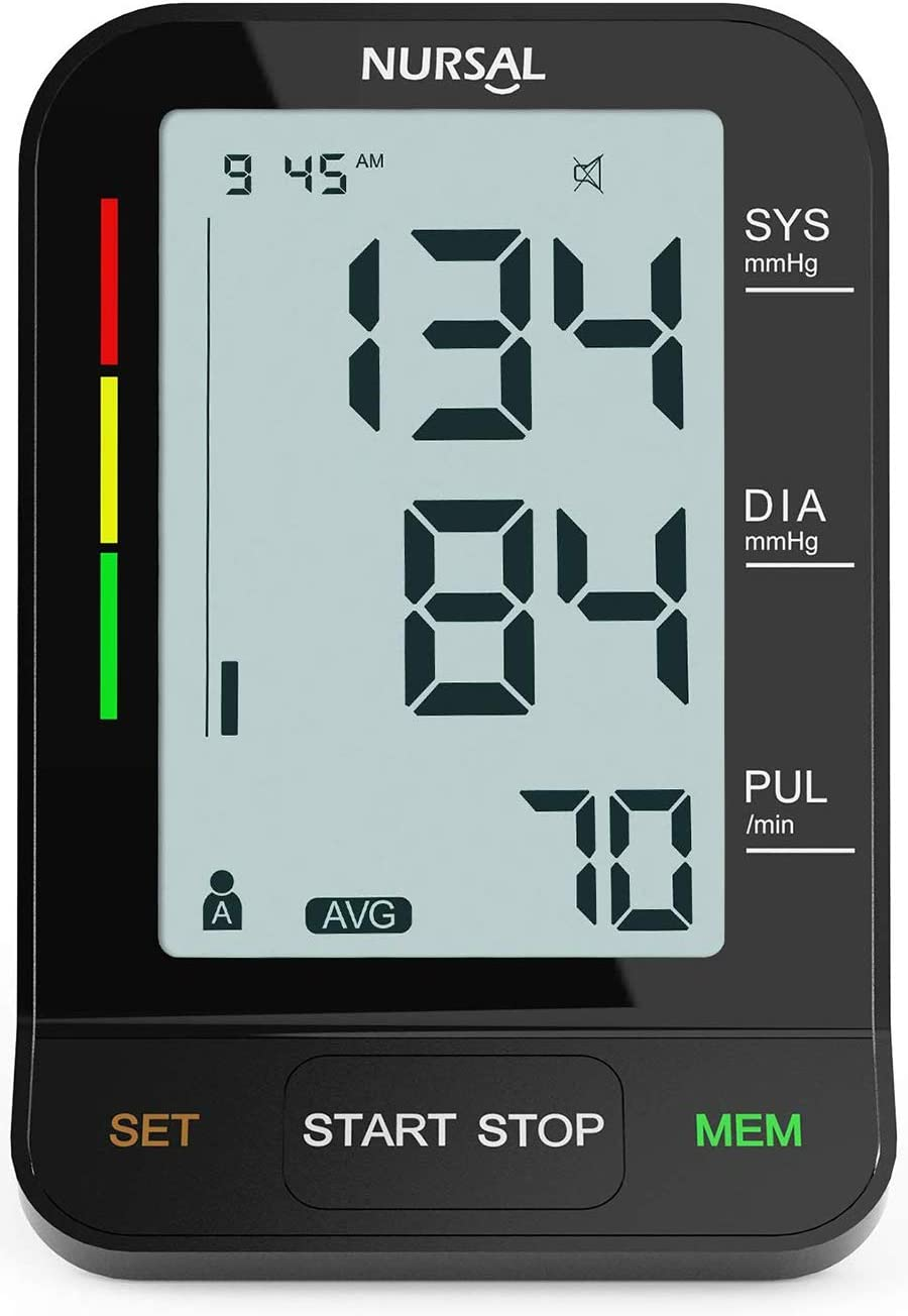 2019 New Version NURSAL Upper Arm Blood Pressure Monitor – Large LCD Screen with 2 Power Sources – 2 Users * 240 Times Memory fits Standard and Large Arms