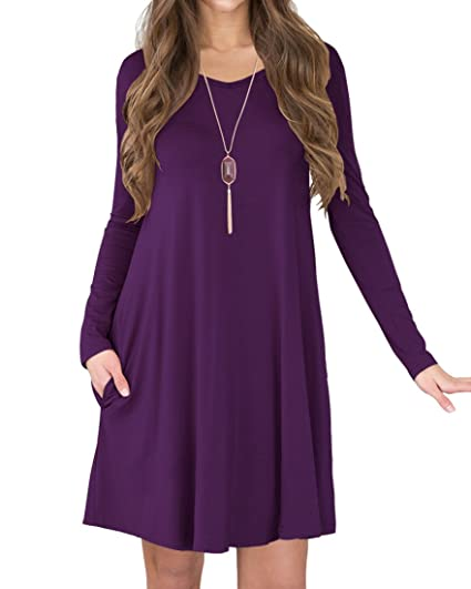 852834f11c7fe Viishow Womens Blake Stretchy Flowy Short Sleeve Tunic Dress Purple S