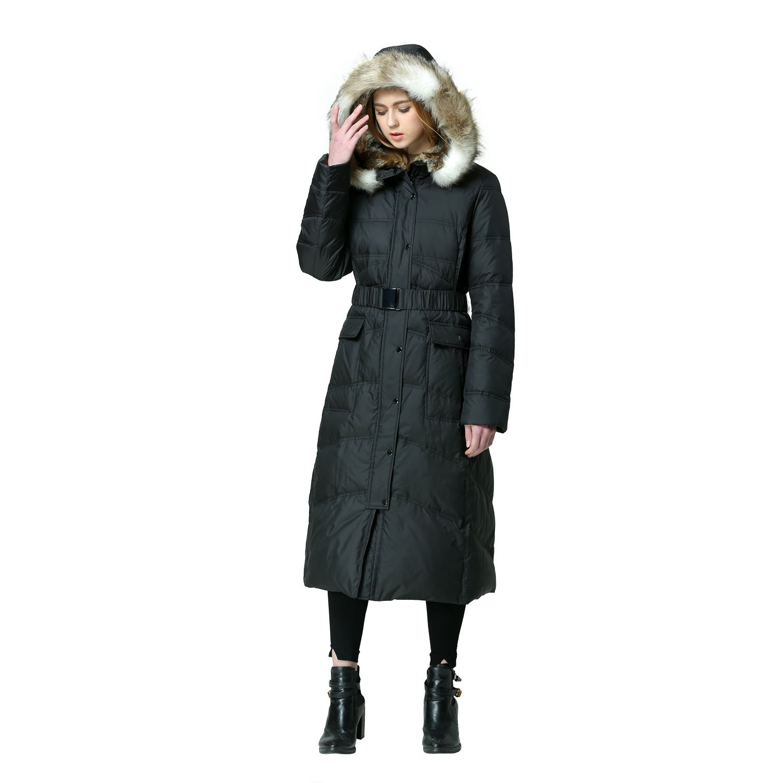 EOVVIO Women's Plus Long Thickened Faux Fur Hooded Down Jacket Coat (XL, Black)