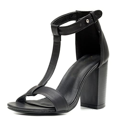 1756b7186f54d VFDB Peep Toe Thick Heel Pumps for Women Summer Ankle Buckle Black Brown  Sandals Shoes Black