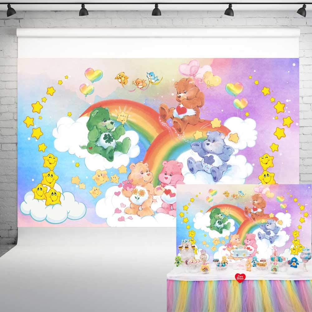 Care Bear Party Supplies Photo Background Baby Happy Birthday Party Decorations Vinyl Photography Backdrop Baby Shower Banner 5x3ft Candy Table Photo Booth Props HL-24