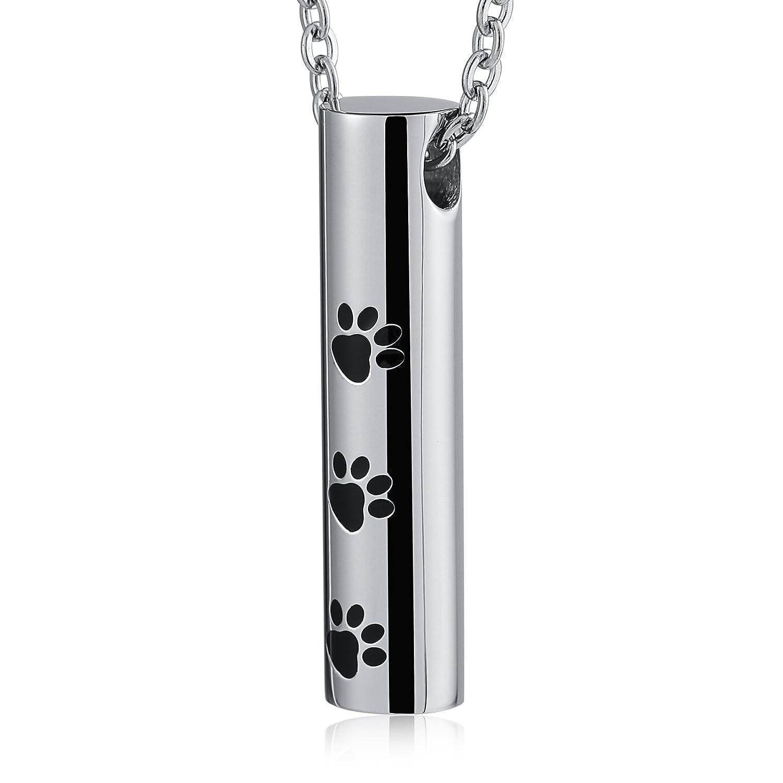 Epinki Joyería Acero Inoxidable Plata Cilindro Impresión de la Pata del Animal Urna Collar Cremación Recuerdo Collar