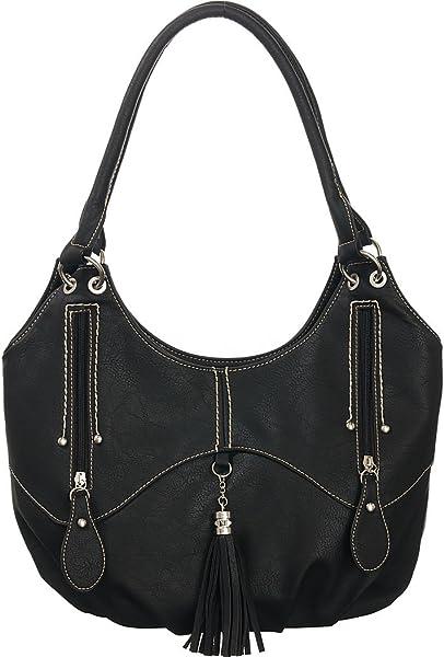 Amazon.com  Caroline Hobo Black Contrast-Stitched Shoulder Bag  Shoes ee0a0a579ad62