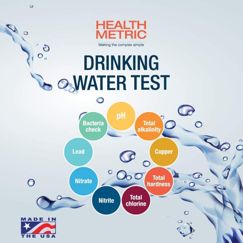 Drinking Water Test Kit For Municipal Tap and Well Water - Simple Testing Strips For Lead Copper Bacteria, Nitrates, Chlorine and More by Health Metric