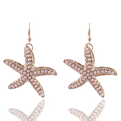 0953036d8b9d Amazon.com: Lovely Pearl Starfish Dangle Earring - Gold Star ...