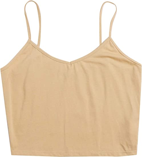 SheIn Womens Casual V Neck Sleeveless Ribbed Knit Cami Crop Top