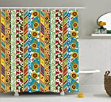 Striped Shower Curtain Set by Ambesonne, Colorful Summer Spring Retro Patchwork Style Pattern Sunflowers Butterflies Strawberry, Fabric Bathroom Decor with Hooks, 70 Inches, Multicolor