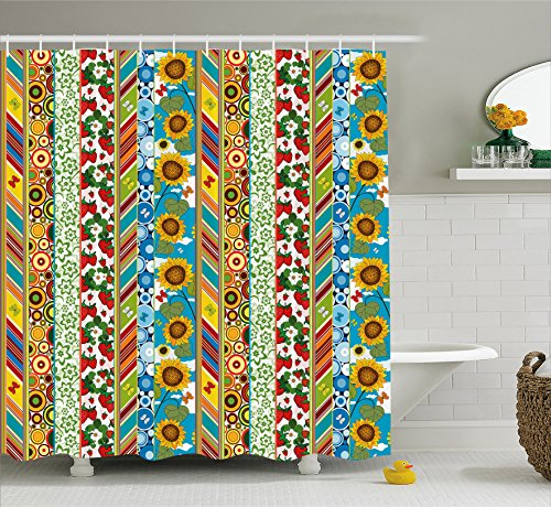 Ambesonne Sunflowers Butterflies Strawberry Multicolor