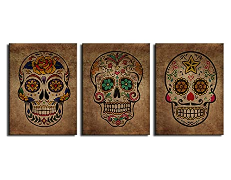 Canvas Wall Art Sugar Skull Vintage Abstract Painting Day Of The Dead  Canvas Prints Contemporary Pictures