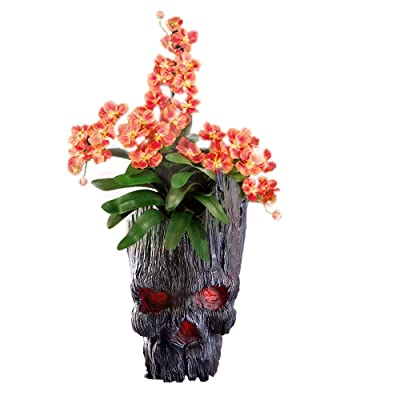 Skull Flower Pot, Treeman Pen Holder Flower Pot, Green Plant Creative Skull Flower Pot, Skull Makeup Brush Holder(Black): Garden & Outdoor