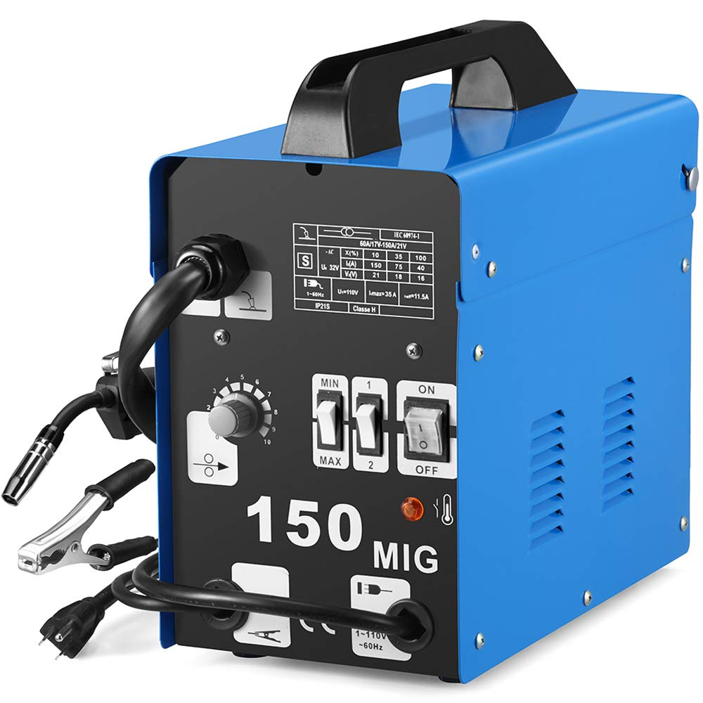 SUNGOLDPOWER MIG 150A Welder Flux Core Wire Automatic Feed Welding AC Welder Gasless Machine Free Mask NO Gas by SUNGOLDPOWER