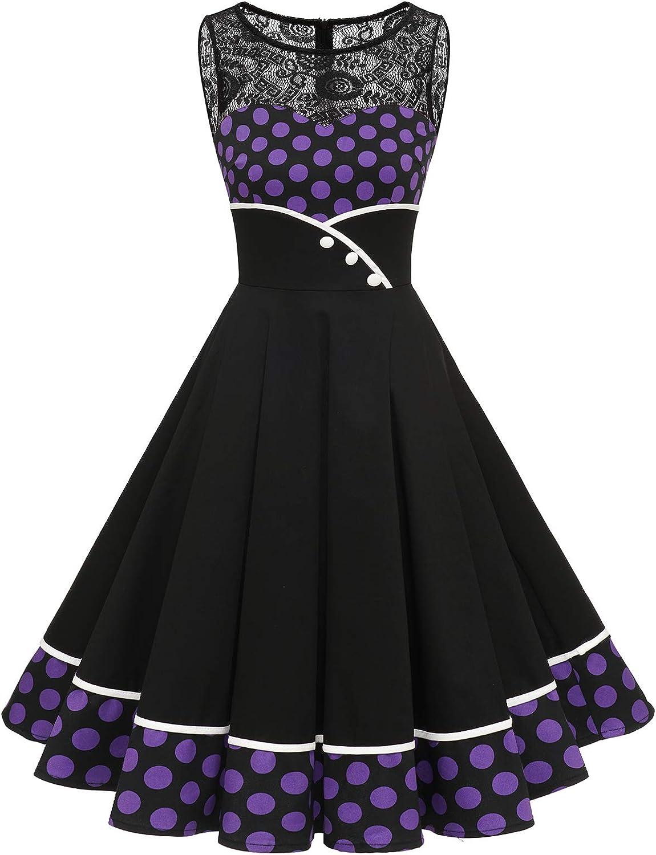 Bbonlinedress Vestido Vintage para Muejeres de Fiesta Cóctel Rockabilly Clásico sin Mangas