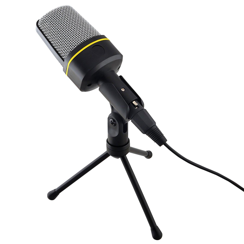 Insten Podcast Home Studio Recording Stand Alone Desktop Microphone Speech Voice for PC Laptop Notebook,Black