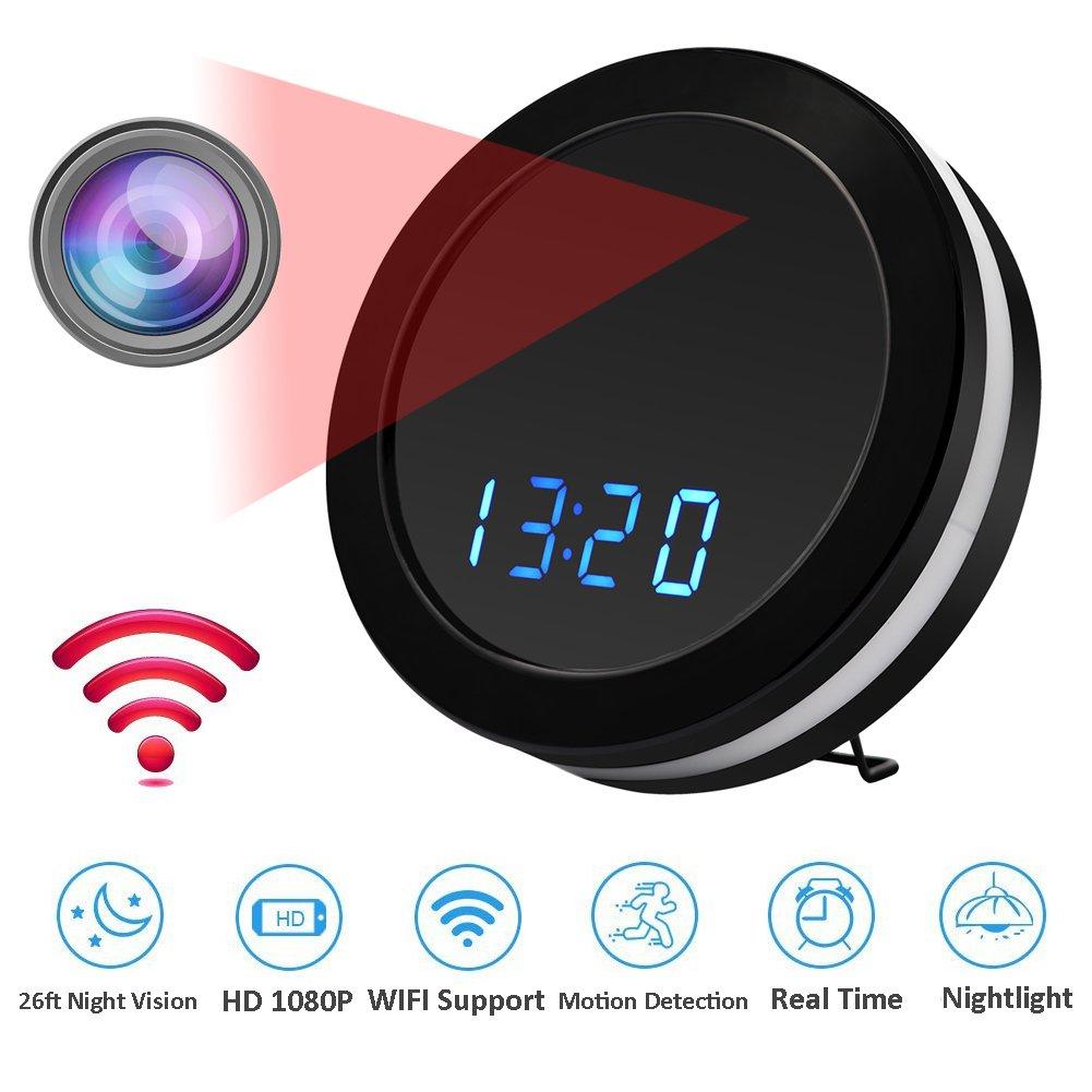 MINGYY Hidden Camera Alarm Clock Wifi Spy Camera 1080P HD Monitor Webcam with Night Vision Security Camera Wireless Surveillance Cameras for Home