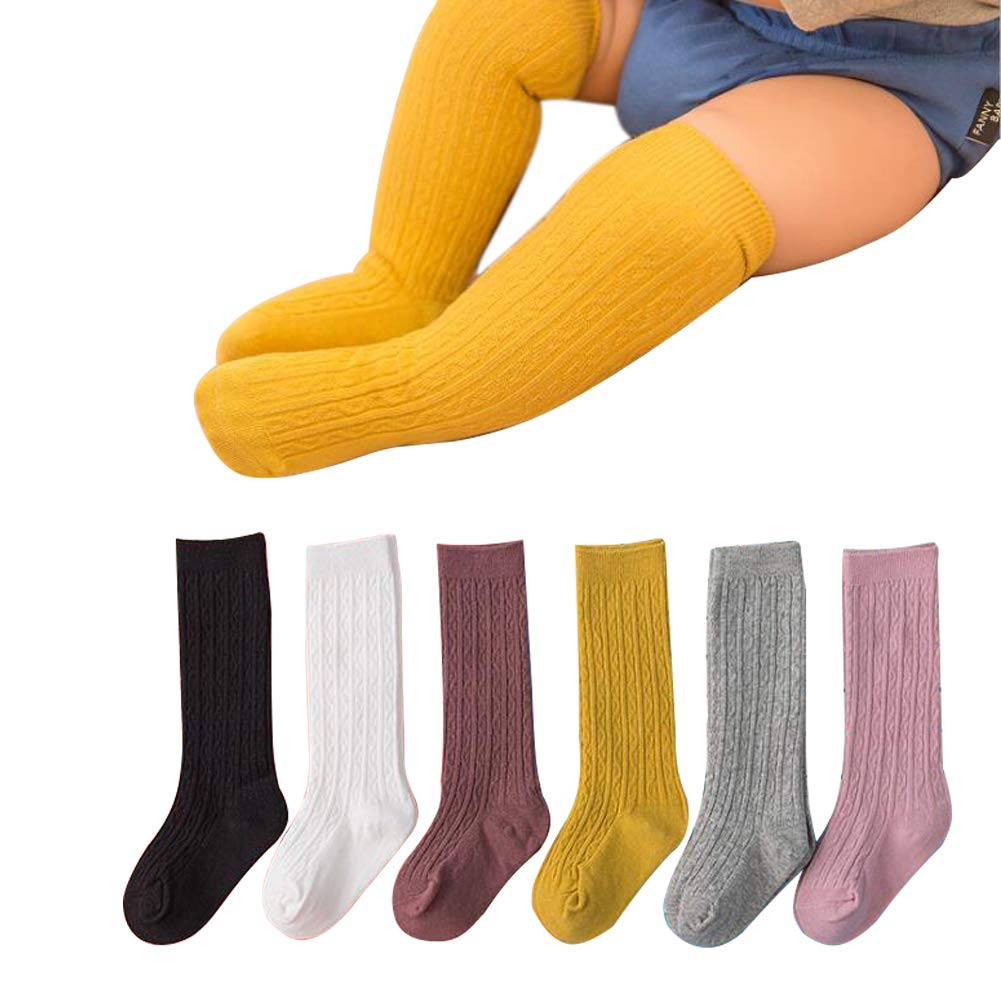 6 Pairs Baby Toddlers Knee High Socks Cute Tube Stockings for Infants Baby Boys Girls