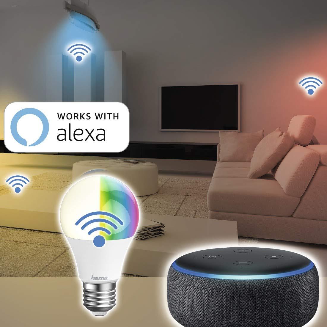 WLAN Lampe Hama E27 Wi-Fi LED-Lampe dimmbar 10 Watt ohne Hub RGB Farbwechsel steuerbar via Alexa//Google Home//App//IFTTT warmwei/ß Echo Dot//Echo Spot//Echo Plus//Echo Show kompatibel 2,4GHz 2700K