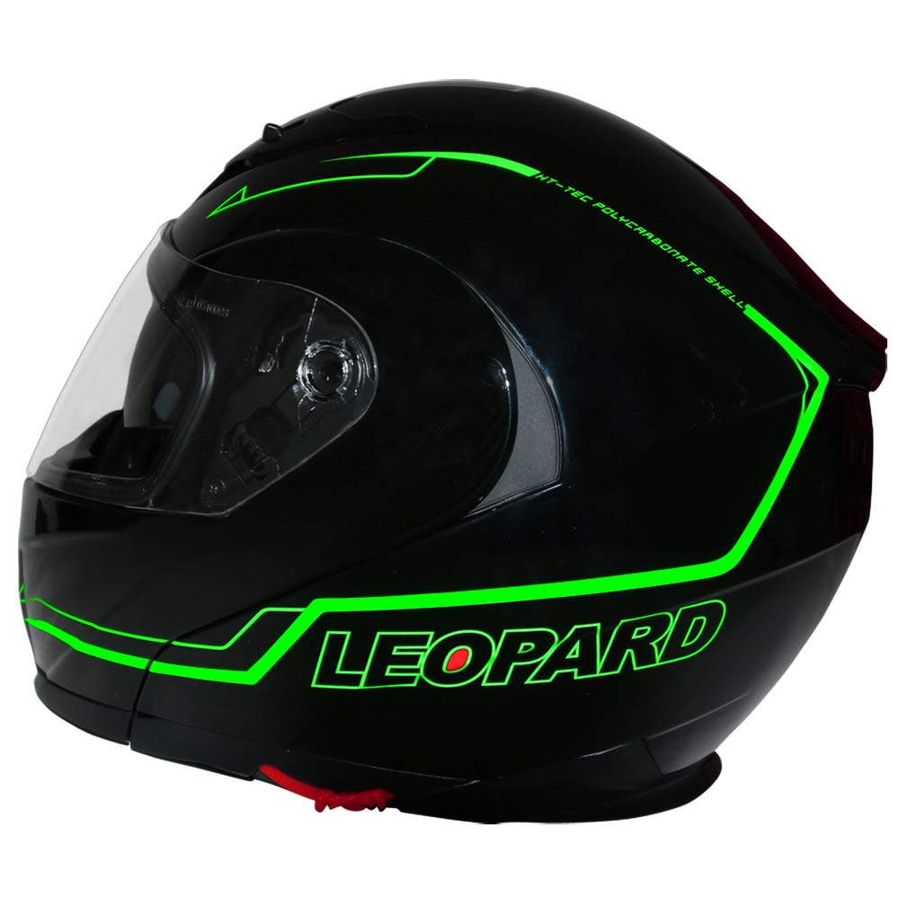 MX Quad ATV Enduro Crash Helmet ECE 22.05 Certified 63-64cm Leopard LEO-X327 Dual Sport Double Visor Motorbike Motocross Helmet Matt Black XXL