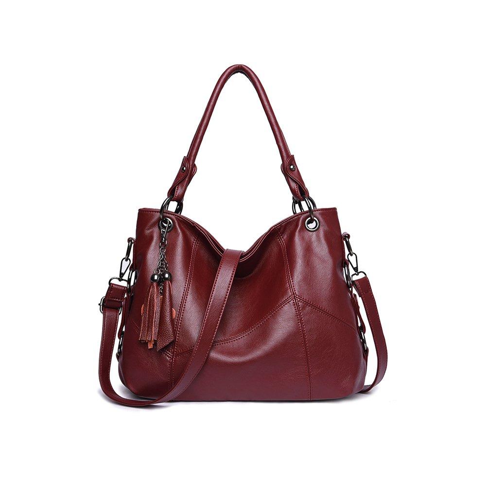 Women Purses and Handbags,JAYLINNA Ladies Shoulder Bag Top Handle Satchel Tote Purse with Tassel(Wine)