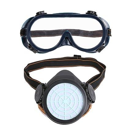 demiawaking respirador máscara y gafas con solo cartucho, filtro de máscara de protección spray de